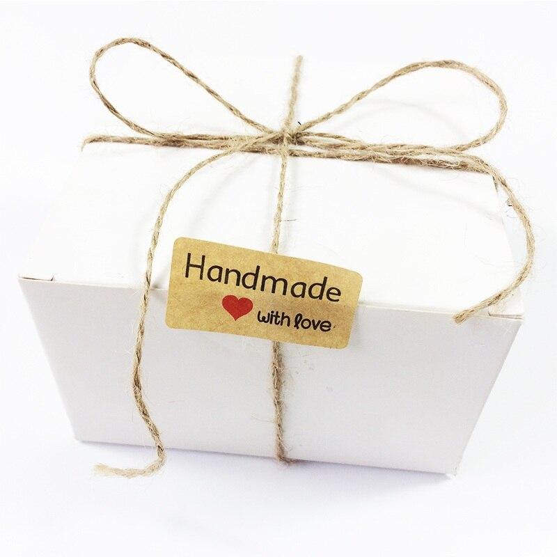 Купить с кэшбэком 120pcs NEW  Handmade heart with love sealing sticker  Kraft paper Heart Handmade series Adhesive Baking Seal label