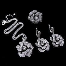 HENSEN Plata Antigua Plateó la Joyería de Moda de Cristal Negro Collar de la Declaración Grande de La Flor Set Sistemas de La Joyería de La Vendimia Para Las Mujeres