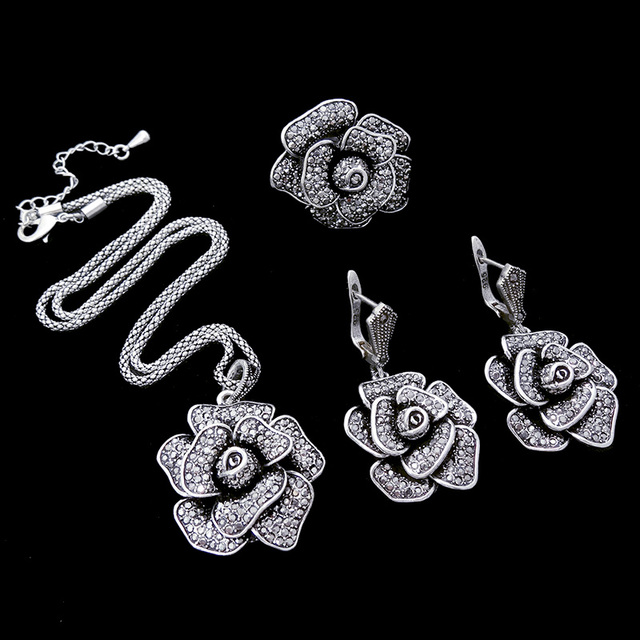 HENSEN Antique Silver Plated Jewellery Fashion Black Crystal Big Flower Statement Necklace Set Vintage Jewelry Sets For Women