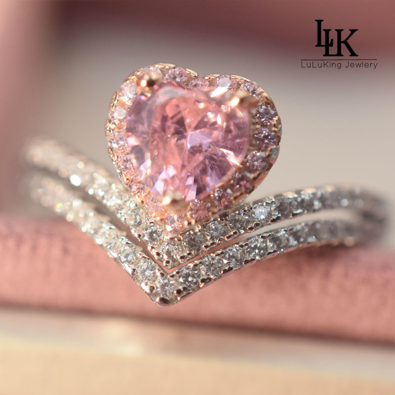 Popular heart pink diamond buy cheap heart pink diamond for Pink diamond wedding rings