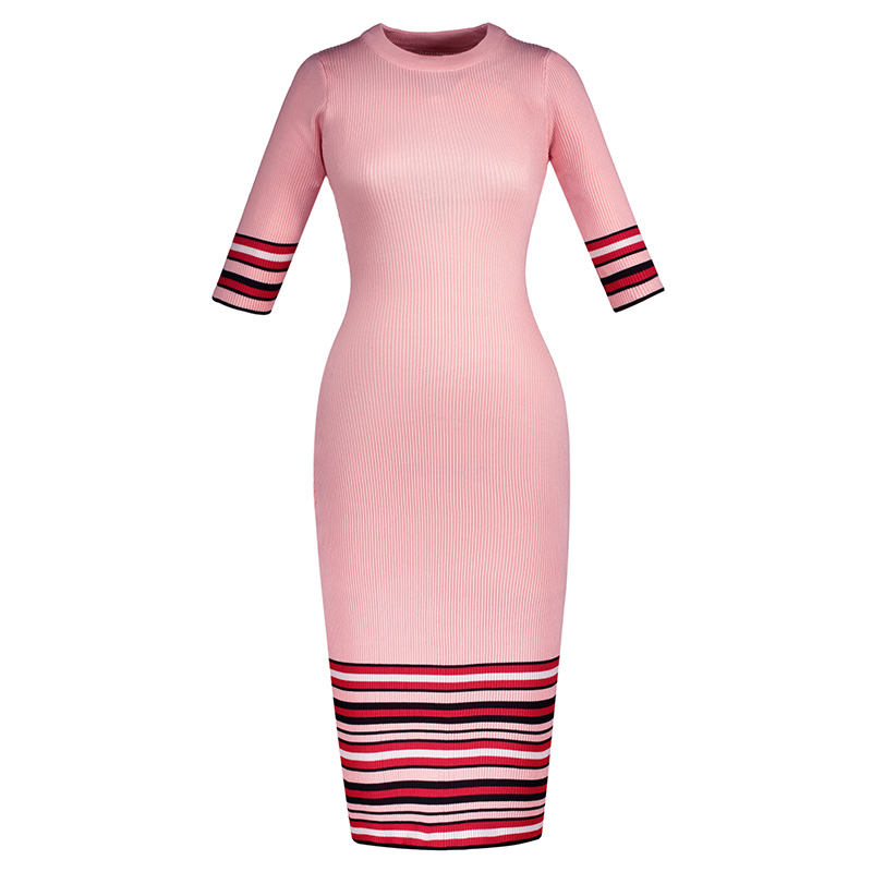 018 Spring Sweater Dress knitted cotton slim stripe half sleeve mid calf dress elegant bodycon Autumn Winter party dance dresses