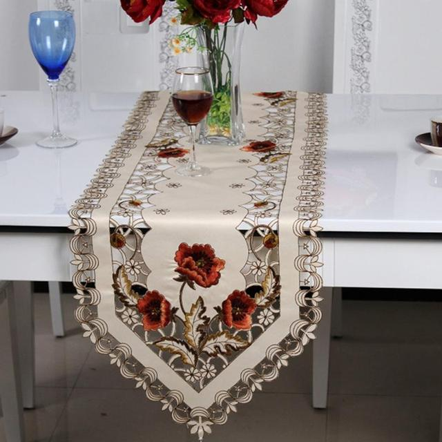 European Pastoral Embroidered Holiday Poinsettia Table Runner Cutwork  Centre Piece Table Runner Tablecloth