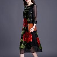 Real Silk Dresses Plus Size Vintage Loose Women Print A Line Dress 2018 New Pattern Half Sleeves Dress Lady Nightclub Costume