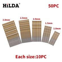 HILDA 50Pcs/Set Twist Drill Bit Set Saw Set HSS High Steel Titanium Coated Drill Woodworking Wood Tool 1/1.5/2/2.5/3mmFor Metal