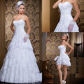 2016 Fashionable Lace Wedding Dresses Detachable Skirt Tiered Ruched Appliqued Arabic Bridal Gowns Beach Brides Dress India Fall