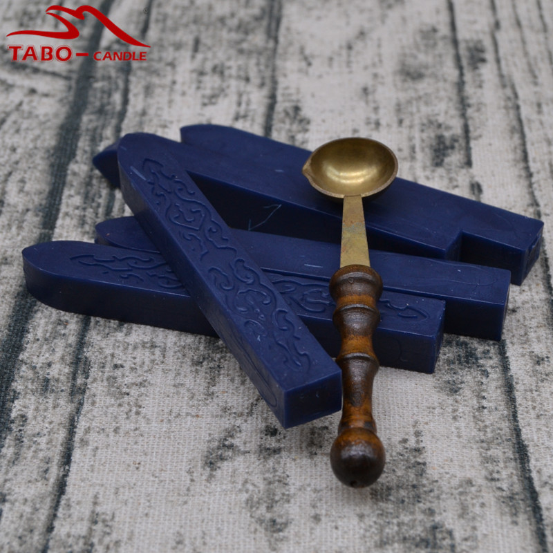 Navy Blue 5 Pieces Seal Wax Stick & 1 Vintage Spoon Melted Wax Anti Hot Spoon Smokeless & Odorless Wax Seal Stick lucky john croco spoon big game mission 24гр 004