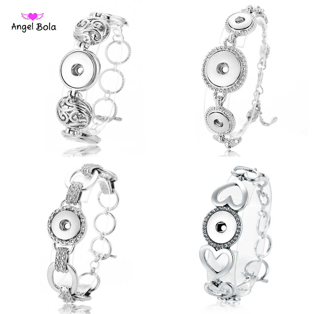 New Ginger Snap Bracelet Women Interchangeable Jewelry Fit 18mm 12mm Snap Button Vintage Snap Charms Crystal Bracelets & Bangles