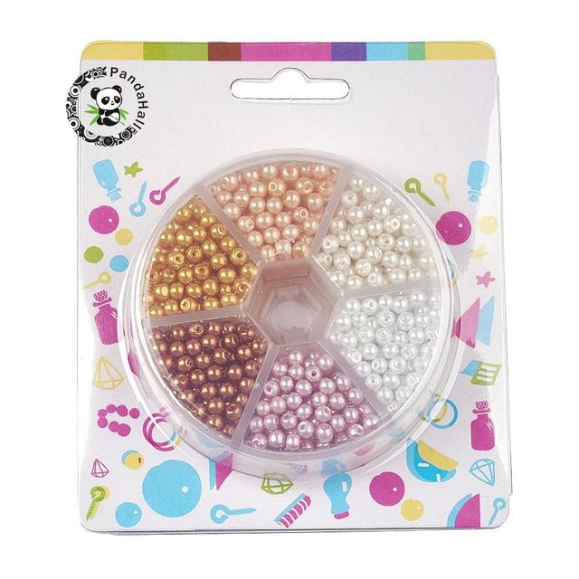 650 개/상자 4mm Pearlized 둥근 구슬은 유리 진주 구슬 세트 DIY 목걸이 팔찌 구멍 1mm