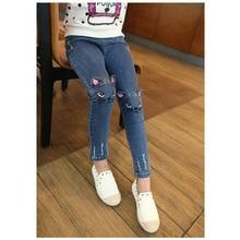 От 4 до 8 лет, Зимние флисовые джинсы с эластичным поясом для девочек, с вышивкой в виде кота, детские трикотажные джинсовые штаны, Vaqueros Ninas, обтягивающие, с эффектом потертости