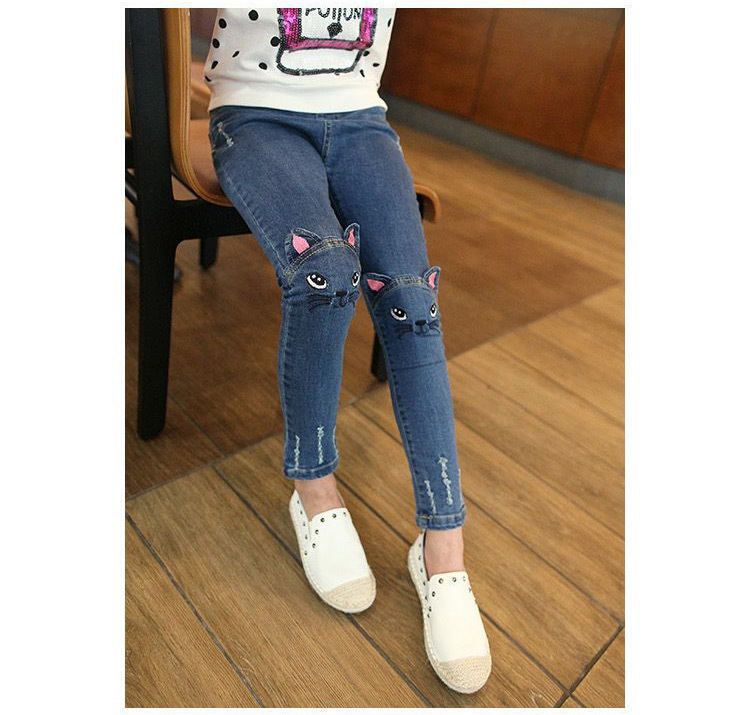 4~8T Winter Fleece Elastic Belt Girls Cat Jeans with Embroidery Kids Knitted Denim Pants Vaqueros Ninas Slim Fit Water Washed цена