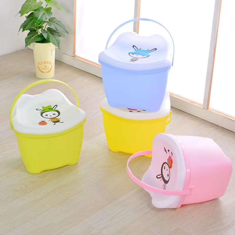 Plastic Pick-up Bench Hand-held Reception Bench Multi-use Children's Cartoon Reception Stool With Cover Bucket