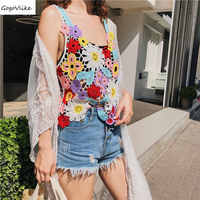 Sexy Knit Camis Women Colorful 2018 New Summer Party Tops Hollow Out Women National lace Tops Perspective Tank Top LT122S50