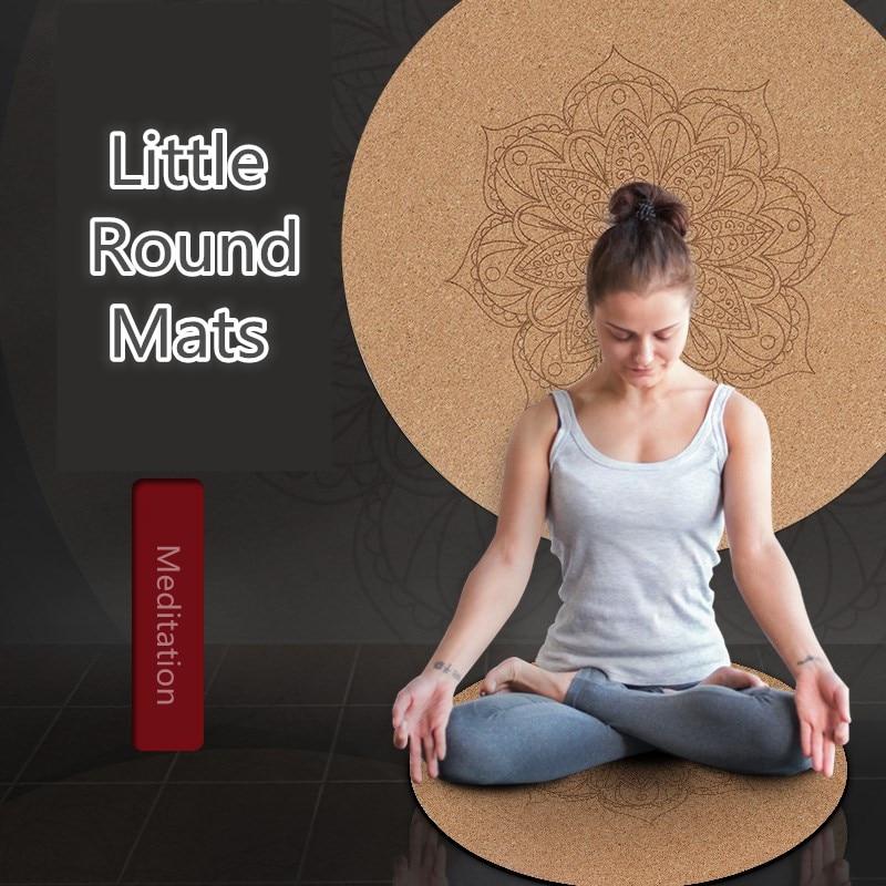 Little Round Cork Mandara Yoga Mats 3MM Natural Rubber Non Slip Yoga Cushion 60*60cm*3MM Home Meditation Pad Pilates Mats