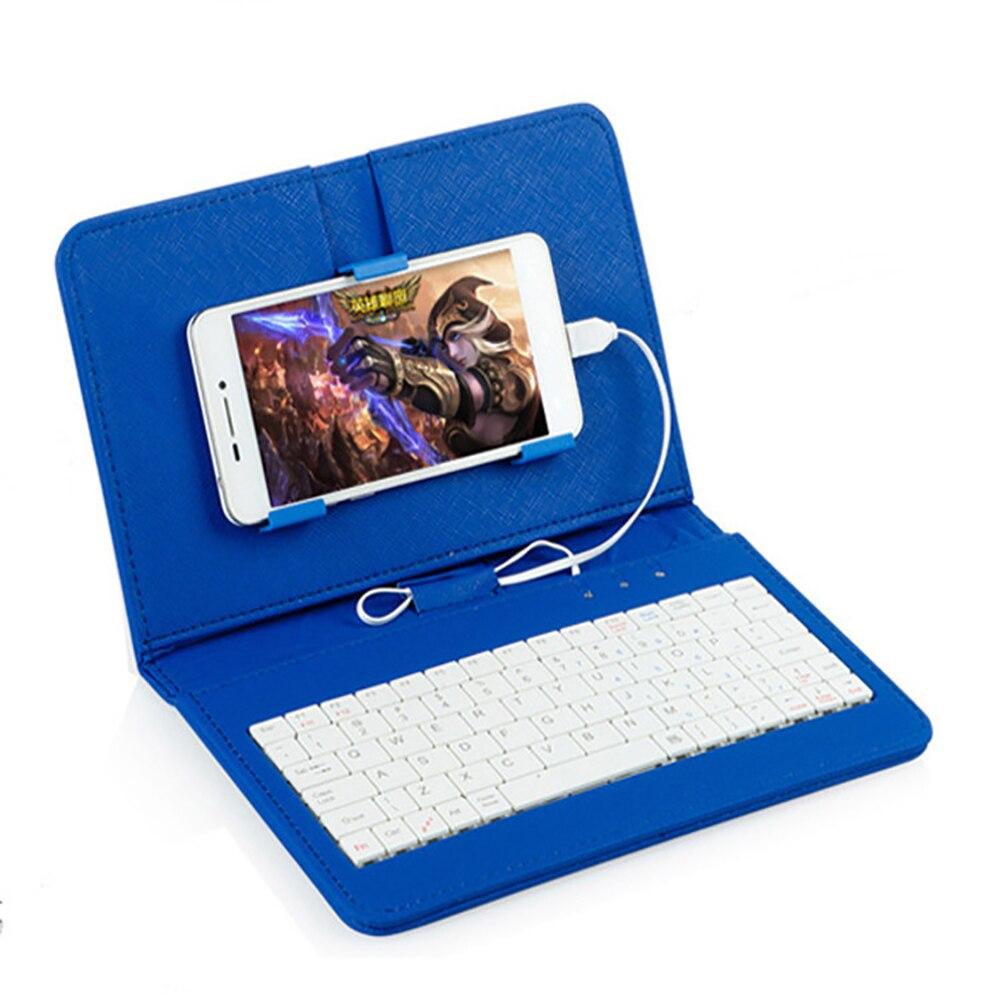 Teclado portátil para teléfono de cuero de la PU de Micro cable USB teclado funda protectora con Clip de teléfono de caso Holde para Samsung iphone
