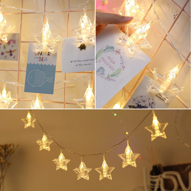 1 5m 3m 4 Card Photo Clip String Lights Stars Led Garlands Battery Operated Light Le Decorative Clamp Fairy