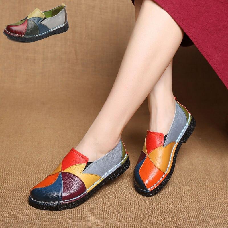 Hecho a mano de cuero suave de cuero zapatos Nacional De cuero zapatos planos para las mujeres Casual mujer pisos dama flowerRound del dedo del pie zapatos calzado 2098 W