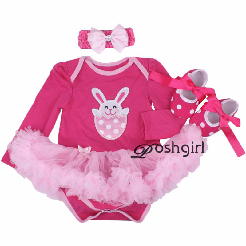 Newborn Baby Girl Easter Sunday Rabbit Outfits Baby Baptism Dresses Birthday Kids Dress Cute Tutu Long Sleeve Rompers 2018 new new baby girl clothing sets infant easter romper tutu dress 2pcs set black girls rompers first birthday costumes festival sets