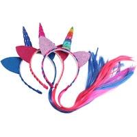Сладкий хвост девочек Ободки с уши блеск разноцветные длинная коса хвост Hairband Дети аксессуары для волос