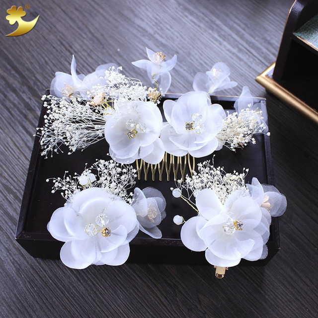 Aliexpress buy charm silk flower hair comb hairgrips girl charm silk flower hair comb hairgrips girl hairpins rhinestone hair clips for women crystal headbands hair mightylinksfo