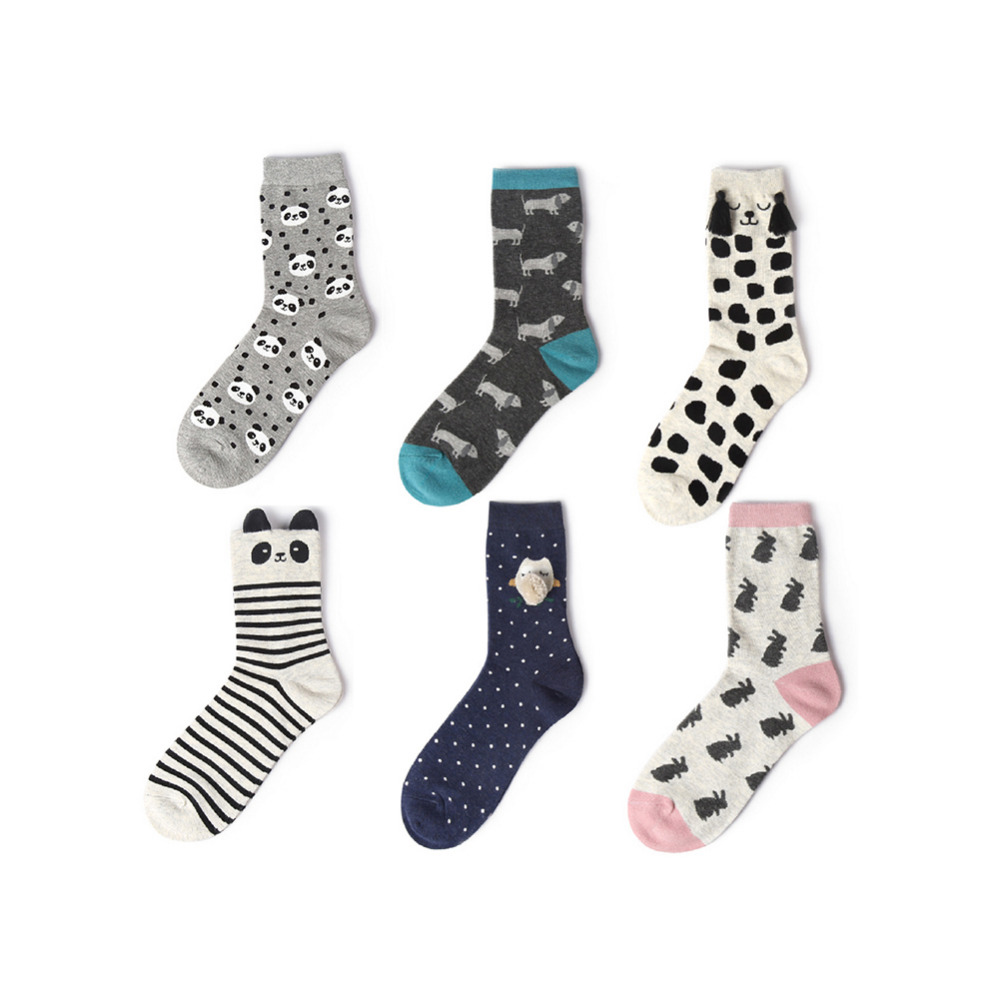 Lovely Animal Hand Pattern Printed Funny <font><b>Socks</b></font> for Girl Casual Cartoon Design <font><b>Happy</b></font> <font><b>Socks</b></font> <font><b>Unisex</b></font> Low Cut Ankle Christmas <font><b>Socks</b></font> image