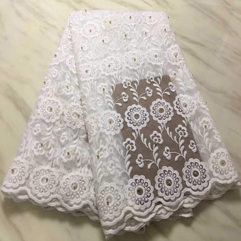 white french lace fabric with beads soft materials luxury wedding dress lace african negerian lace fabric latest 5yardlotPLF210