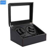 Black Carbon Automatic Watch Winder Box 4 6 Drawer Storage Display Watches Slient Motor Box For
