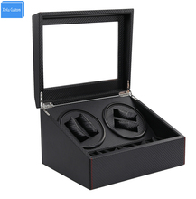 цены Black Carbon Automatic watch winder box 4+6 drawer storage display watches  slient motor box for watches mechanism cases box