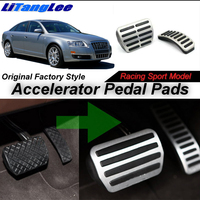 LitangLee Car Accelerator Pedal Pad Cover Sport Racing Design For Audi A6 C6 2004~2012 AT Foot Throttle Pedal Cover