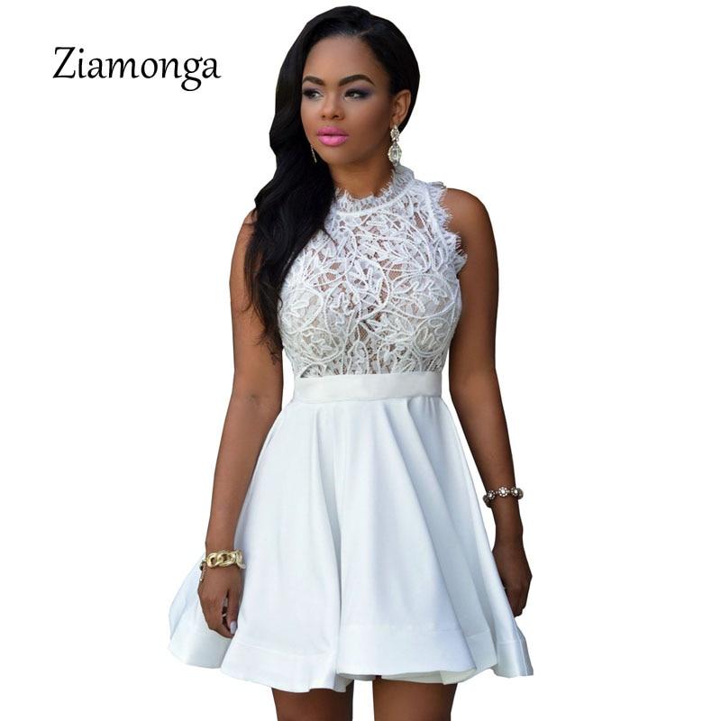 Us 1222 20 Offelegant Black White Lace Spring Summer Dress Sleeveless Turtleneck Women Dresses 2017 Short Party Casual Skater Dress C2797 In