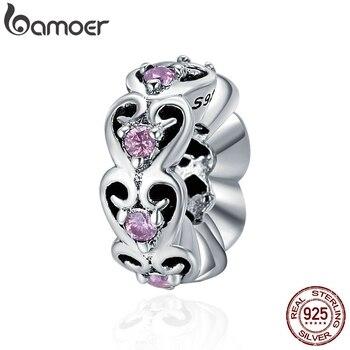 BAMOER romantique véritable 925 argent Sterling empilable coeur Sweat amour entretoise perles fit femmes bracelets porte-bonheur bijoux à bricoler soi-même SCC339