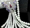 Hotsale jewelry AAA cubic zircon micro paved white gold plated vintage Butterfly simulated pearl tassel long necklaces for women