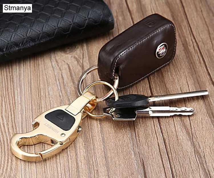 Новый бренд Для мужчин Для женщин брелок для автомобильных ключей Топ высокого качества мульти-функциональный вертикально открывающийся чехол кожы металльный брелок для ключей кольцо K1187