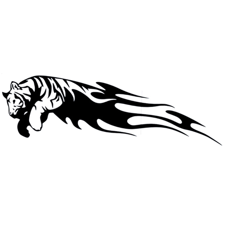 20X6.3CM TIGER Jump Flame Bardian Vinyl Car Sticker Motorcycle Decal Black Silver S6-2340
