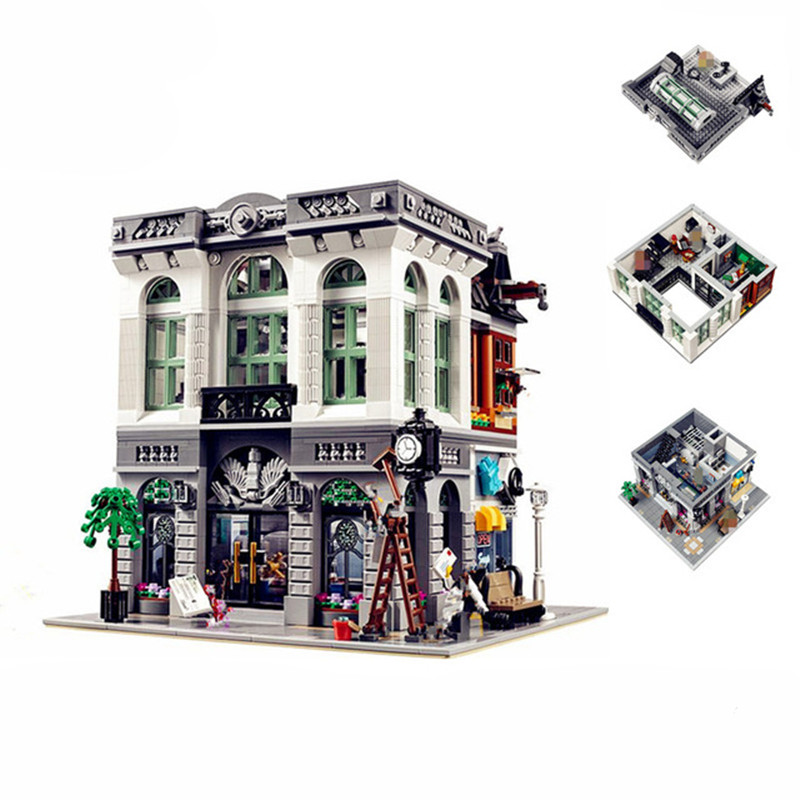 2413pcs Lepin Diy Bank Model Building Kits Blocks Compatible With legoingly 10251 Educational Bricks Toys for children free shipping lepin 2791pcs 16002 pirate ship metal beard s sea cow model building kits blocks bricks toys compatible with 70810