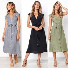 Vestido de verano 2020 para mujer, vestidos casuales sin mangas a rayas, vestido Midi con cuello en V, vestido de mujer a la rodilla, vestido veraniego Vintage para mujer
