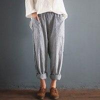 2018 Oversized ZANZEA Trousers Women Elastic Waist Pockets Long Harem Pants Casual Retro Cotton Linen Striped