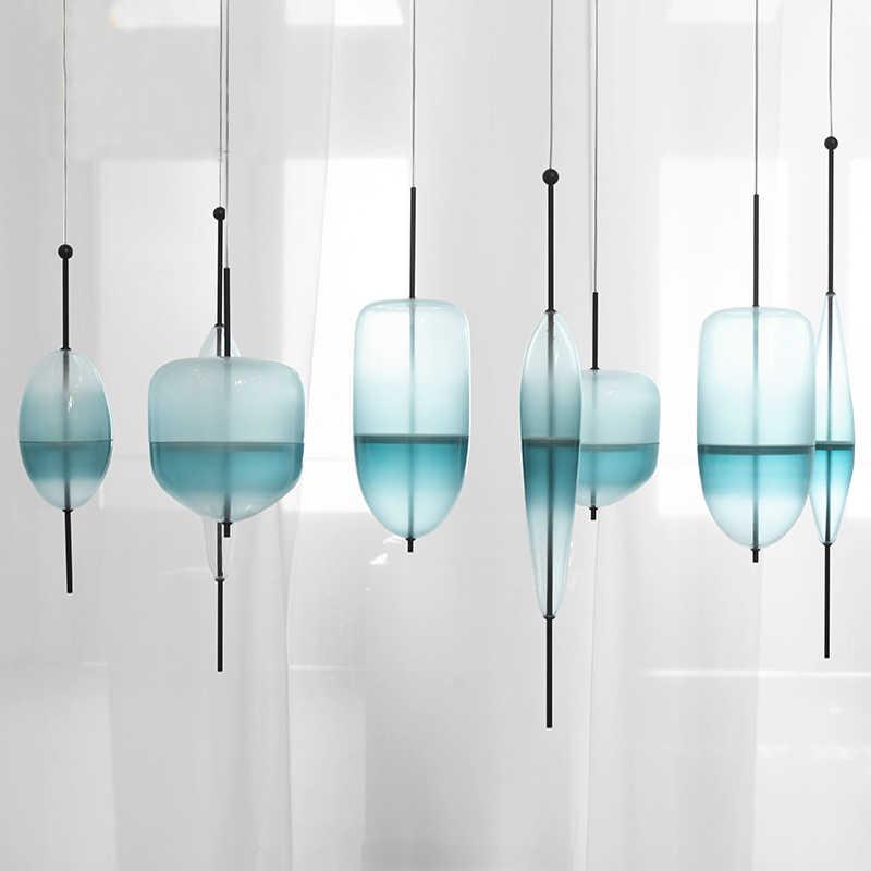 Blue chromatography ภาษาอิตาเลี่ยนออกแบบโคมไฟ Lake of Venice Blue gradient เรียบง่าย Peaceful Pure จี้แก้ว