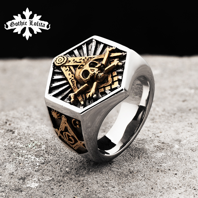 Masonic Ring For Men Hexagon Skull Stainless Steel