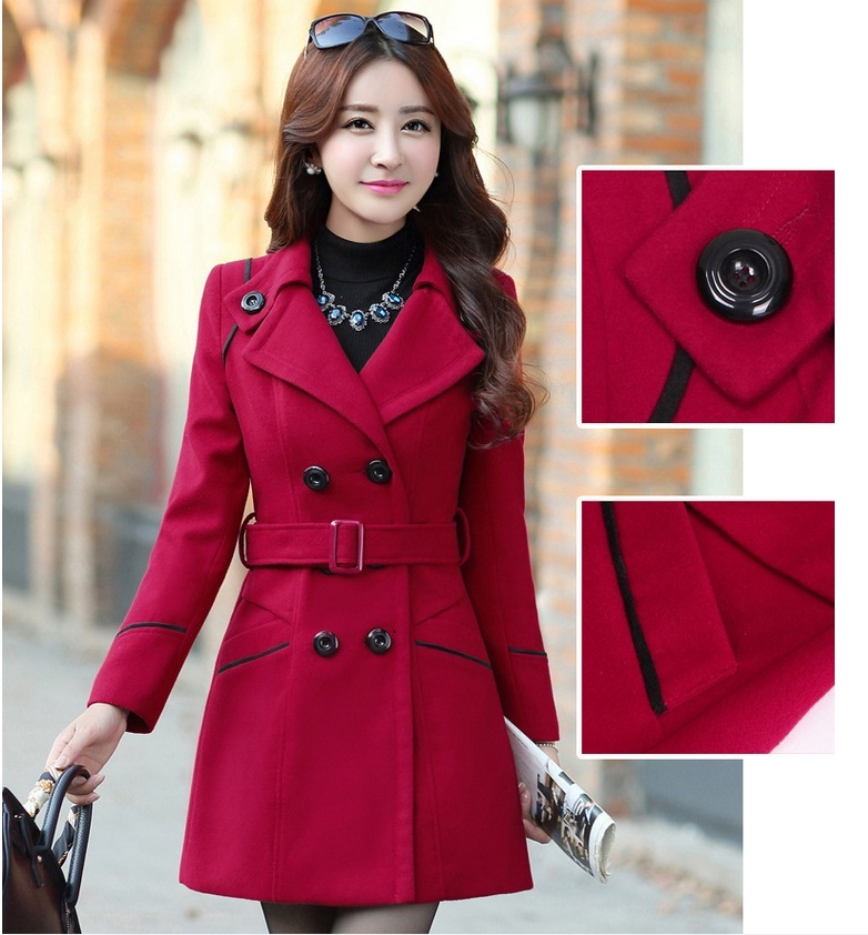 YAGENZ M-3XL Autumn Winter Wool Jacket Women Double Breasted Coats Elegant Overcoat Basic Coat Pockets Woolen Long Coat Top 200 7