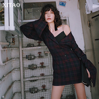 [XITAO] Hong Kong Autumn New 2018 Vintage Women Notched Collar Single Breasted Plaid Dress Female Full Sleeve Dress KZH2569