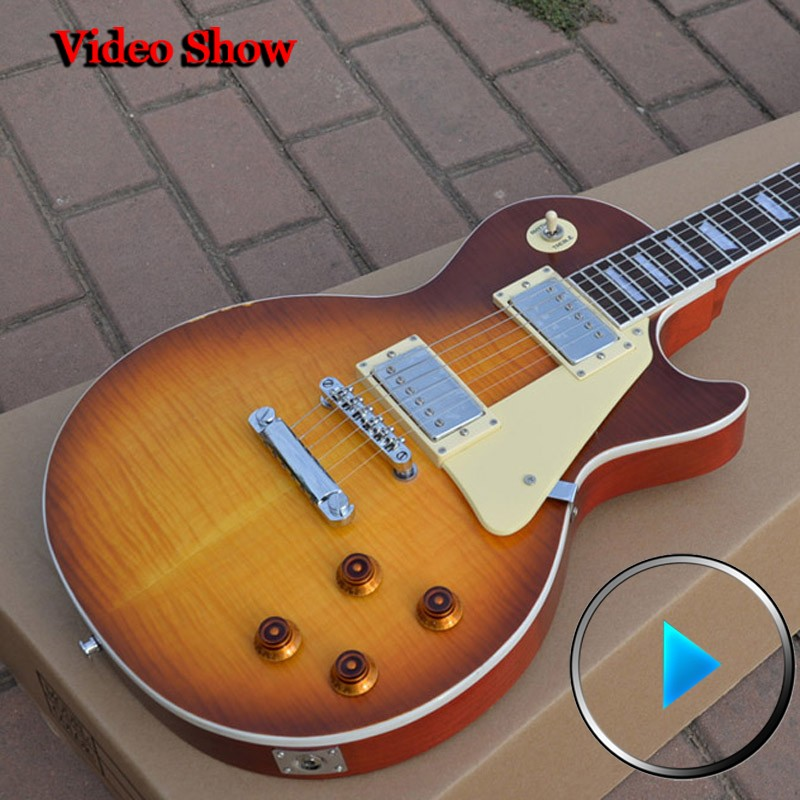 Custom Shop 1959 lp Vintage Signed Faded Tobacco Burst billy gibbons guitars instruments musical electric guitar free shipping new china lp guitar custom shop tobacco burst flame maple top electric guitar gold parts free shipping