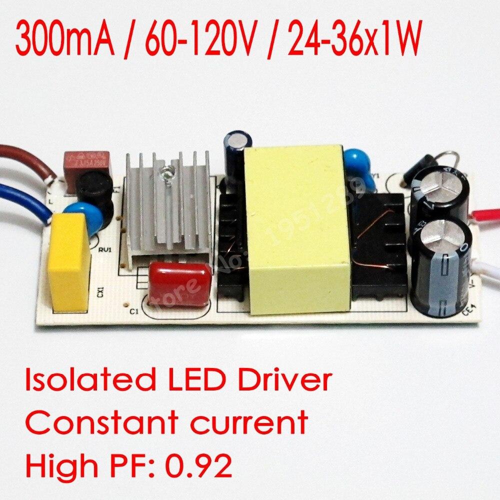 Hihg PF Isolated 300mA 24-36x1W Led Driver 24W/25W/26W/28W/30W/32W/36w Power Supply DC 60V - 120V AC 110V 220V for LED lights