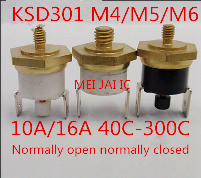 KSD301 thread 10A 16A 250v M4 M5 M6 normally open normally closed 40C 300C 40 45