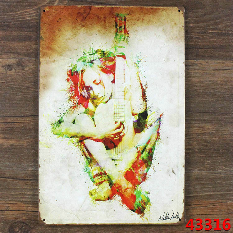 Sexy Belle Guitar Tin Sign Retro Metal Painting Home Decorate Iron Tin Plate Room Bar Tavern Nightclub 20*30 CM