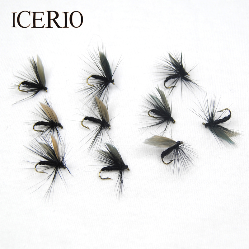 ICERIO 10PCS Black Dry Flies Fly Trout Fishing Lures #12 10pcs black