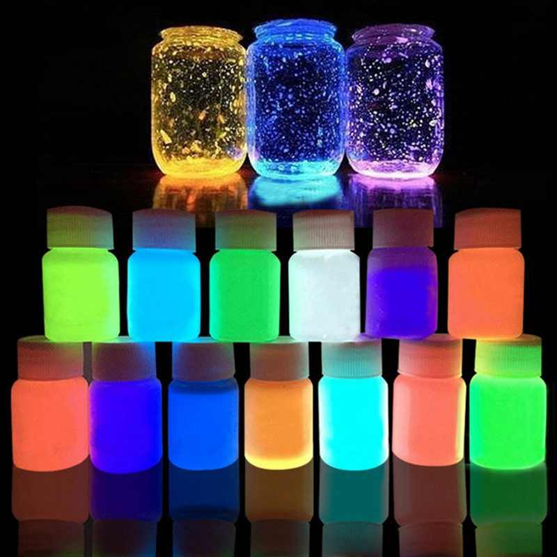 35g 12 farben DIY Graffiti Farbe Leucht Acryl Glow in The Dark Pigment Party Wände