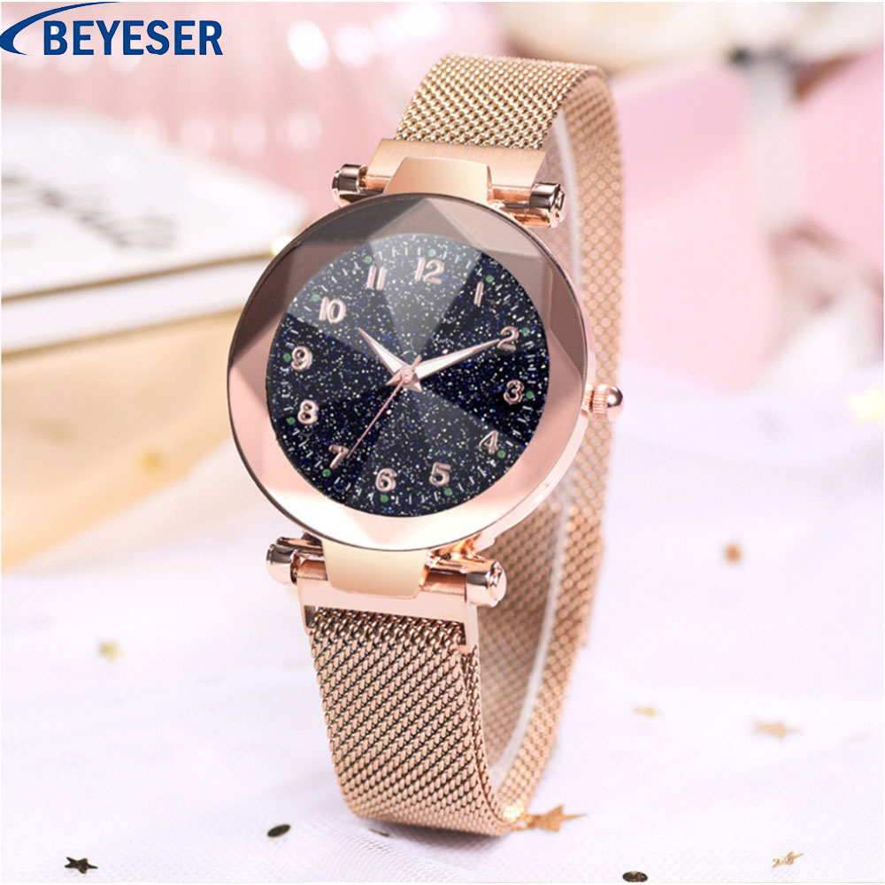 Luxury ladies watch magnet stainless steel mesh with starry fashion diamond female luminous shining quartz Luminous watches in Women 39 s Watches from Watches