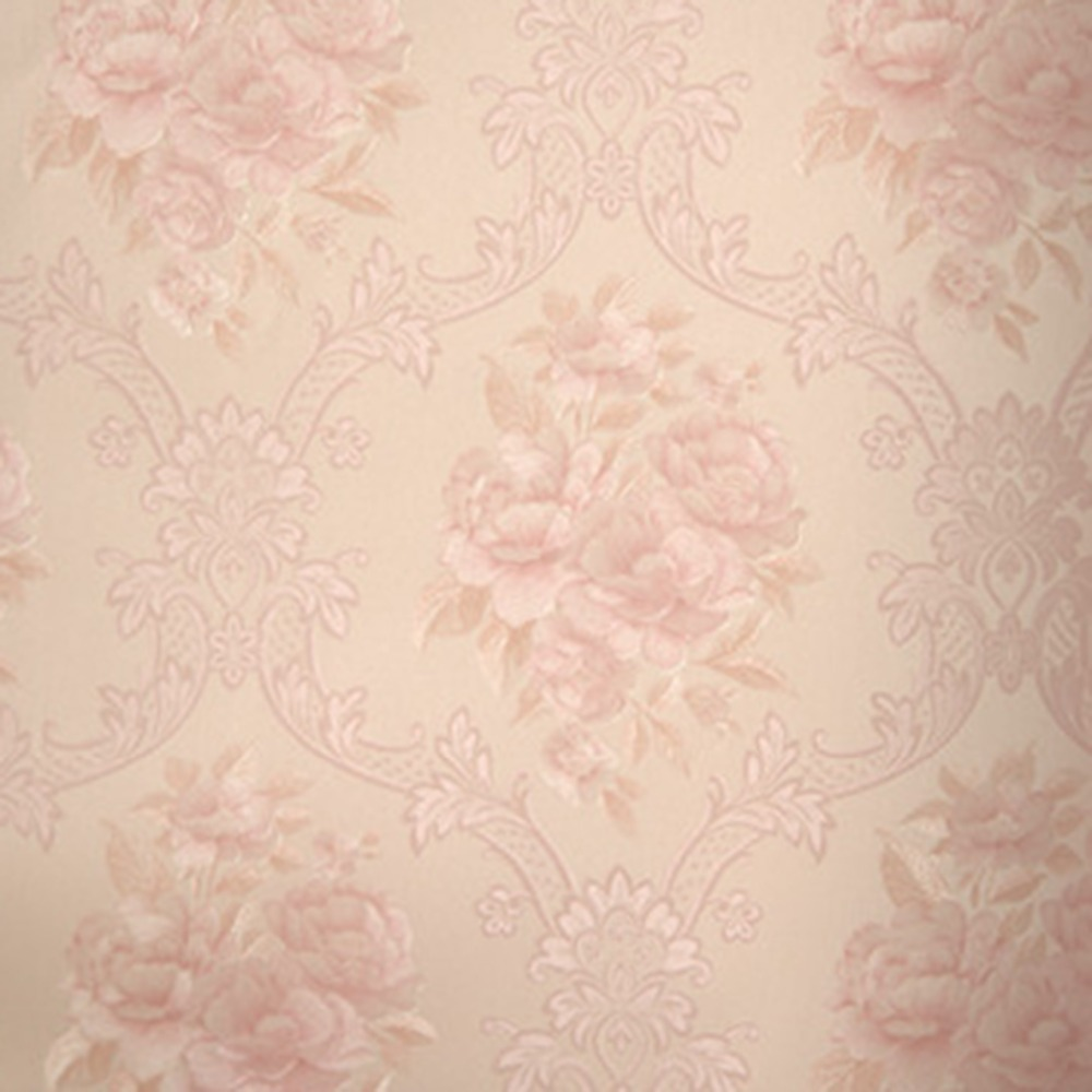 5M Roll Luxury Classic Light Pink Damask Flocking Nonwoven Bedroom Wallpaper for Backgroud nokia 6700 classic illuvial pink киев