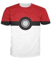 Hot! nouvelle arrivée Hommes/femmes t-shirt Pokemon Pokeball Lui Prendre Bonne qualitying O-cou Court 3D camisetas Casual tricoté t-shirt