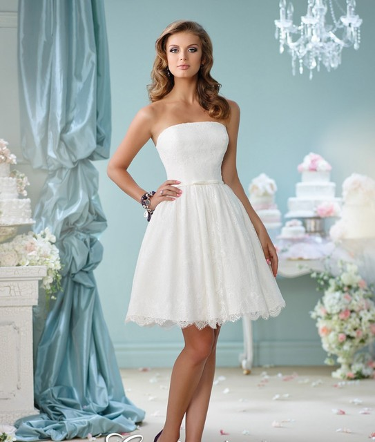 Short Wedding Dresses Lace Strapless Wedding Gonws Romantic With ...